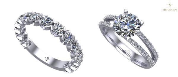 Zásnubní a snubní prsteny s drahokamy Sirius