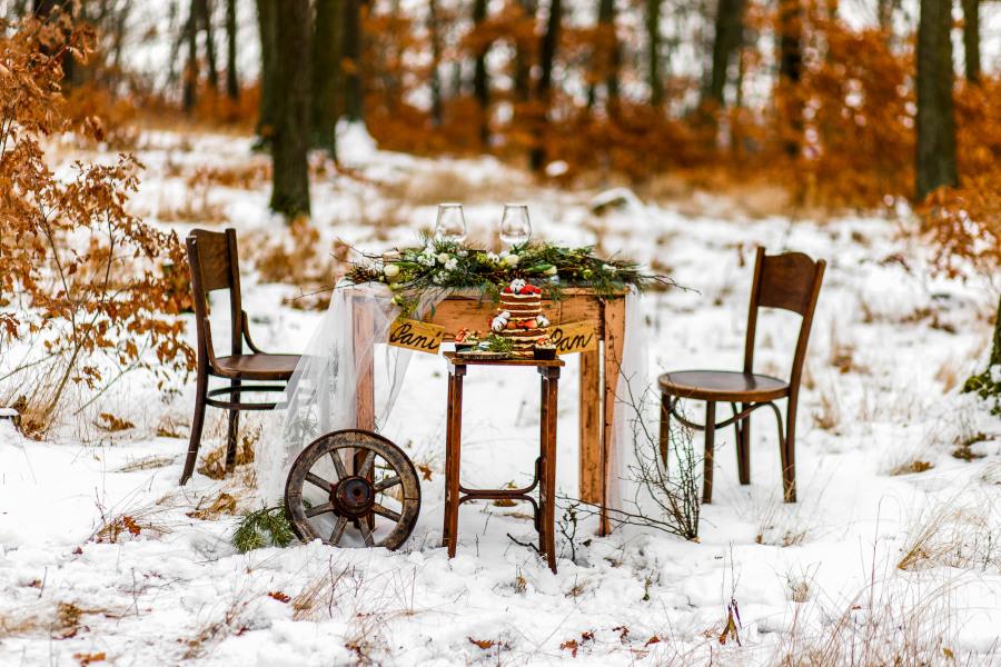 Svatba v zimě a dekorace
